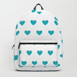 Polka dot hearts - turquoise Backpack
