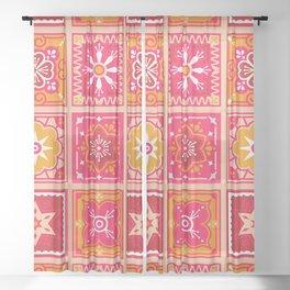 Talavera Mexican Tile – Hot Pink & Orange Palette Sheer Curtain