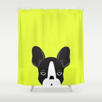 lime green Shower Curtains featuring French bulldog lime green by styLOVEobrazy
