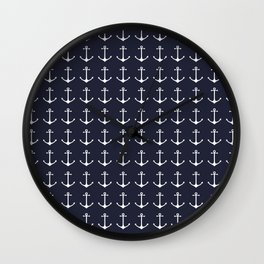 Nautical navy blue white modern anchor pattern Wall Clock