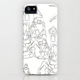 Yoga Asanas black on white iPhone Case