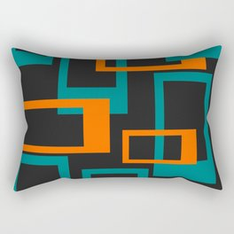Mid Century Modern Layered Rectangles - Orange and Teal Rectangular Pillow