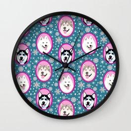 Husky, Samoyed, Malamute // Dog sled team// Year of the dog Wall Clock
