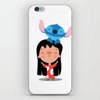 lilo and stitch iPhone & iPod Skins featuring Lilo & Stitch by mruburu