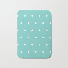 White polka dots on tiffany color background Bath Mat