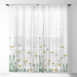 white Margaret daisy watercolor Sheer Curtain