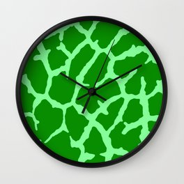 Green Giraffe Print Wall Clock