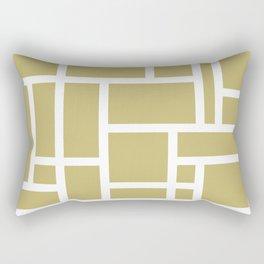 Beige and White Rectangular Geometric Block Art Design Rectangular Pillow