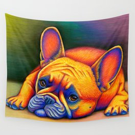 Colorful French Bulldog Rainbow Dog Pet Portrait Wall Tapestry