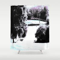 amy pond Shower Curtains featuring Pond by Layne Andrews Art