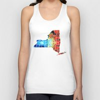 yankees Tank Tops featuring New York - Map By Sharon Cummings by Sharon Cummings