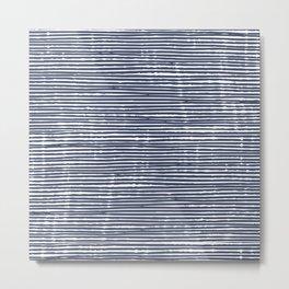 Stripes, Mudcloth, Indigo, Navy Blue, Boho Wall Art Metal Print