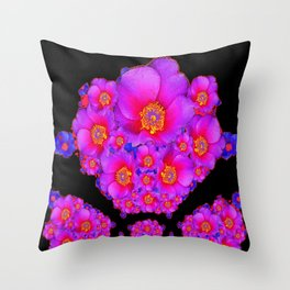 Colorful Purple-Red Fuchsia Flowers Black Modern Art Design Abstract Throw Pillow