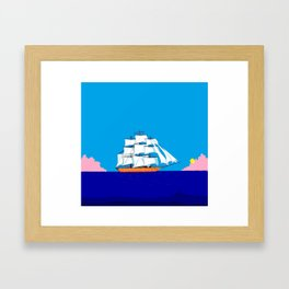 A Clipper Ship at Sunset, Pink clouds and Sun, Nautical Scene Framed Art Print