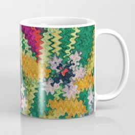 Starry Floral Felted Wool, Green Coffee Mug