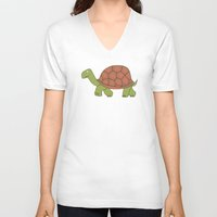 tortoise V-neck T-shirts featuring tortoise by siloto