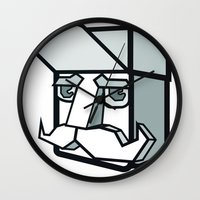 the dude Wall Clocks featuring DUDE by Serhiy FE
