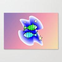 astrology Canvas Prints featuring Astrology, fish by Karl-Heinz Lüpke