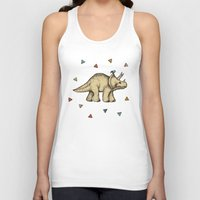bedding Tank Tops featuring Triceratops & Triangles by micklyn
