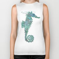 greg guillemin Biker Tanks featuring Seahorse Abstract by Greg Phillips by SquirrelSix