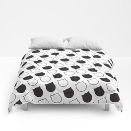 Polka Cat - Black Comforters