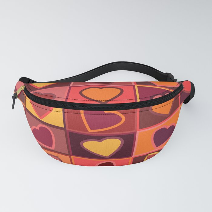 Hearts in squares print in pink, purple and yellow Fanny Pack