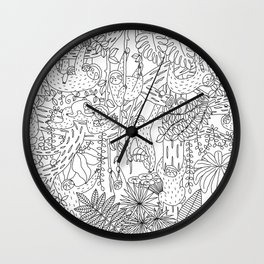 Happy Sloths Jungle - Line Art Wall Clock