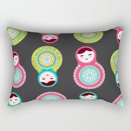 dolls matryoshka on black background, pink and blue colors Rectangular Pillow