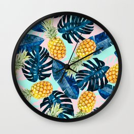 Tropical and exotic pattern painting III Wall Clock