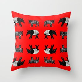 Dance of the Tapirs in red Throw Pillow