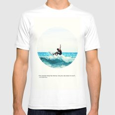 Surf Quote White MEDIUM Mens Fitted Tee