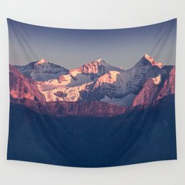Three Peaks in Violet Sunset Wall Tapestry