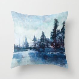 Lassen forest at Echo Lake in California Throw Pillow