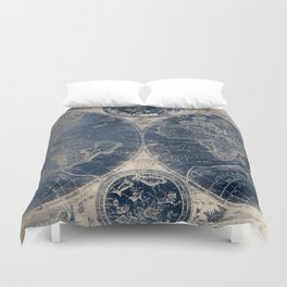 Antique World Map Gold Navy Blue Library Duvet Cover