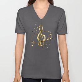 Golden Musical Key Unisex V-Neck