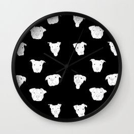 Black pit bull love Wall Clock