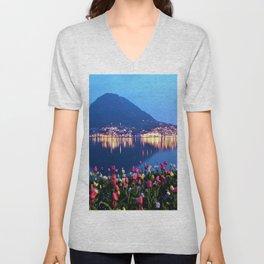 Tulips - Lake Lugano, Switzerland Landscape Photograph Unisex V-Neck