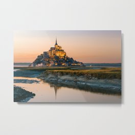 Sunset to Mont Saint Michel Metal Print