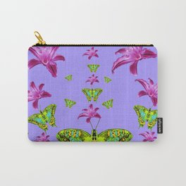 GREEN MOTHS & PURPLE LILIES LILAC COLOR Carry-All Pouch