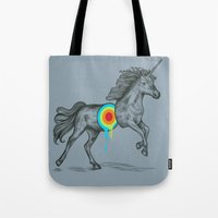 rainbow Tote Bags featuring Unicore II by Rachel Caldwell