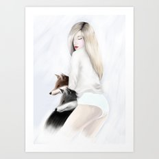 women_fox Art Print
