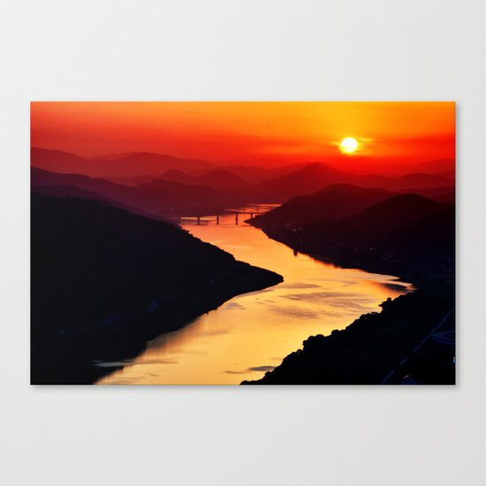 Sunset at the River Canvas Print