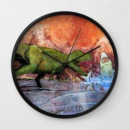 T-Rex vs Sharks Wall Clock