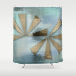Rusted Triangles on Blue Grey Backdrop Shower Curtain