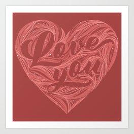 Love You - Heart Art Print