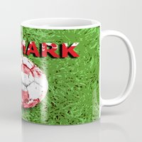 denmark Mugs featuring Old football (Denmark) by seb mcnulty