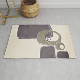 Retro Abstract Design in Taupe and Aubergine Rug