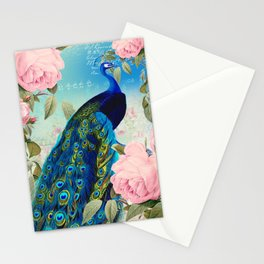 Peacock & Pink Roses  Stationery Cards