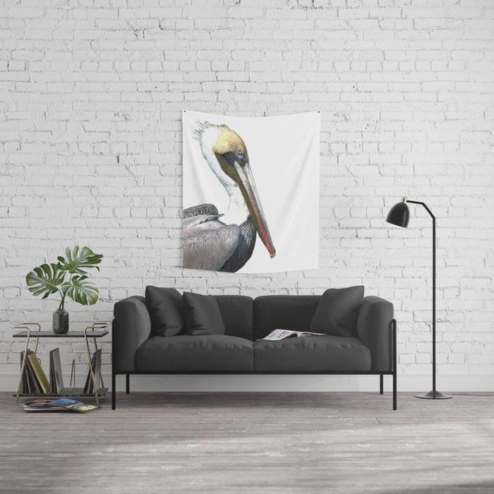 Pelican Portrait Wall Tapestry