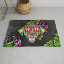Labrador Retriever - Chocolate Lab - Day of the Dead Sugar Skull Dog Rug